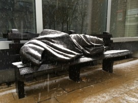 Homeless Jesus in the rain