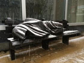 Homeless Jesus in the rain