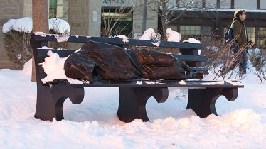 Homeless Jesus in the snow