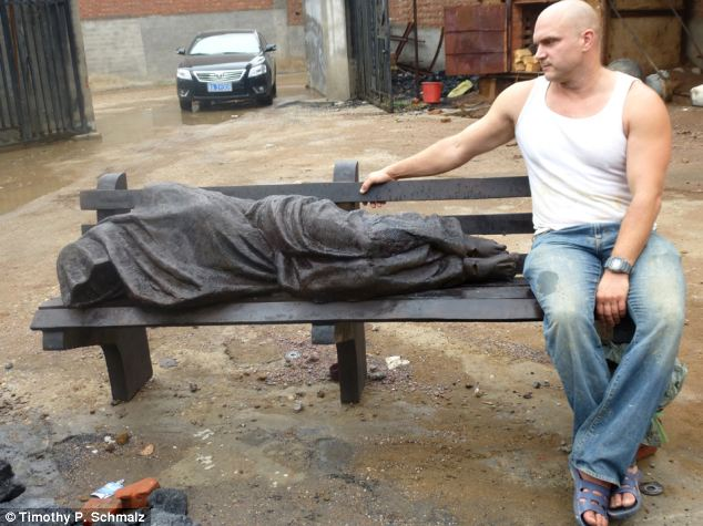 Homeless Jesus with artist